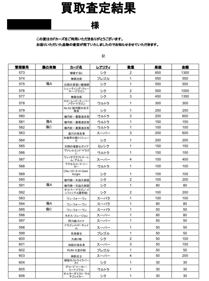 カドカーズ 遊戯王 買取評判12