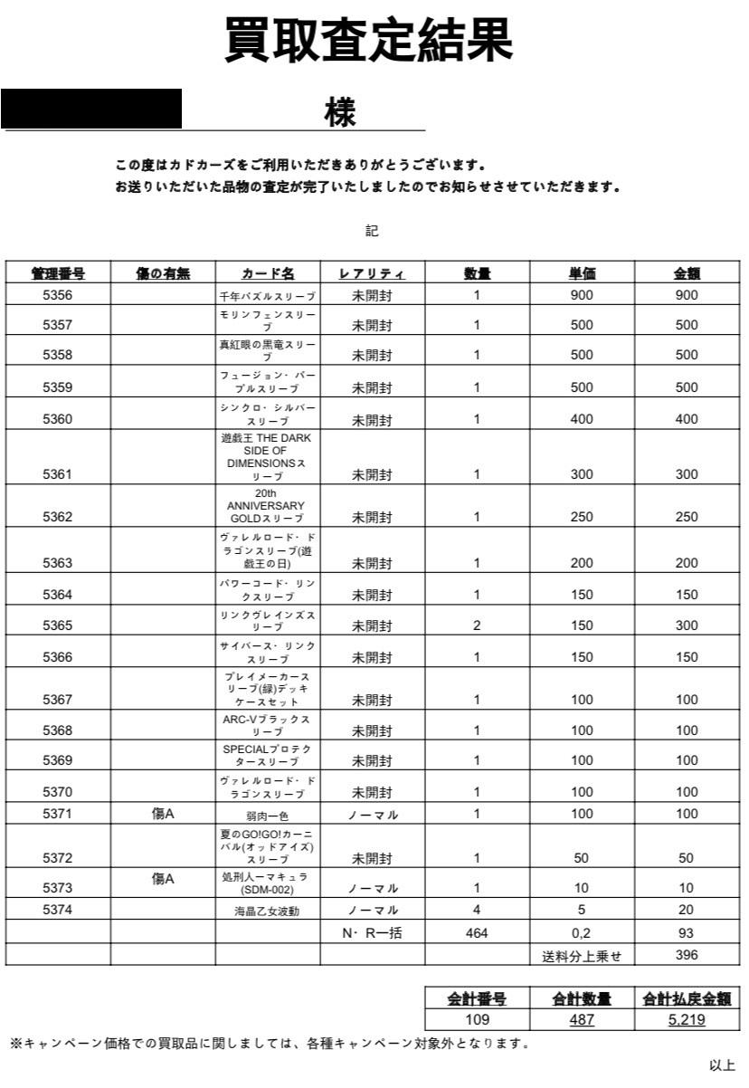 カドカーズ 遊戯王 買取評判22